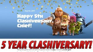 CLASH OF CLANS 5 YEAR ANNIVERSARY! 1-GEM BOOST + NEW OBSTACLE! August Clash Update
