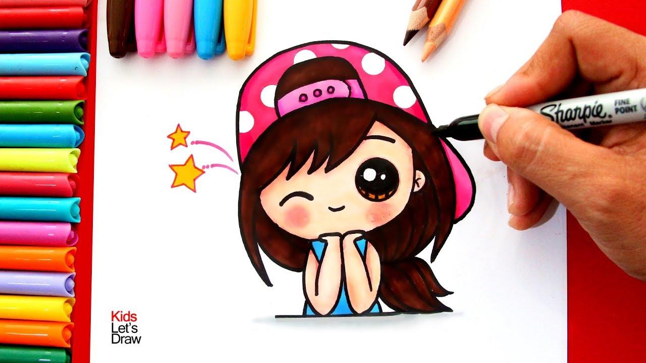 Aprende a dibujar una chica kawaii con gorra how to draw - Unas modelos para pintar ...