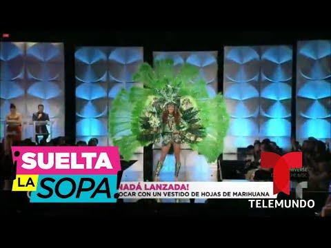 Miss Canadá lució una gigantesca hoja de cannabis como traje típico | Suelta La Sopa