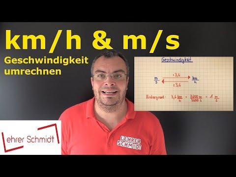 km/h in m/s umrechnen | Geschwindigkeit - Maßeinheiten umwandeln