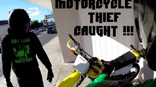 motorcycle thief chased down and caught