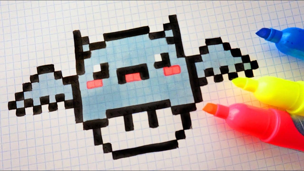 Handmade Pixel Art How To Draw Kawaii Bat Mushroom Pixelart Halloween