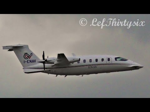 [HD] Piaggio P-180 Avanti ENAV two high speed passes at Brindisi Airport