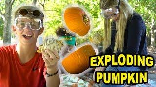 EXPLODING Pumpkin!! (MattyBRaps, Justin & Carissa)