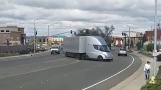 The Tesla Semi pulling into a Supercharger station