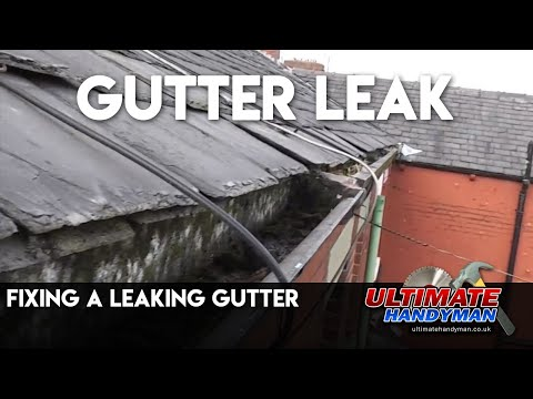Fixing a leaking gutter