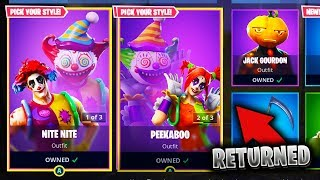 """NITE NITE"" & ""PEEKABOO"" RETURN FORTNITE! Clown Skins RETURN to FORTNITE!"