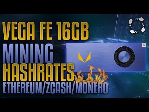 VEGA Frontier Edition 16GB HBM2, Crypto Mining Benchmarks: Ethereum/ZCash/Monero