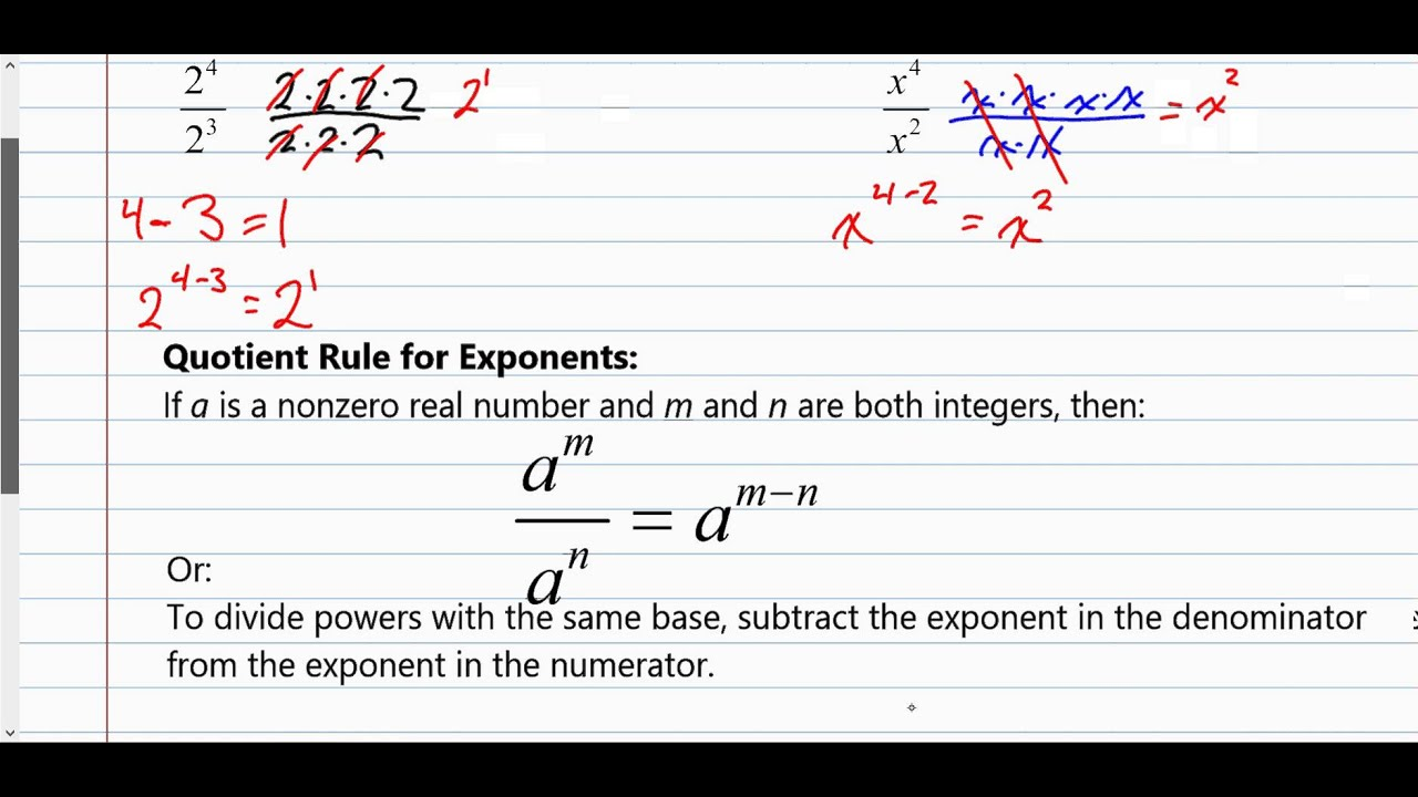 Section 5 1 Exponent Rules Product Quotient Zero With