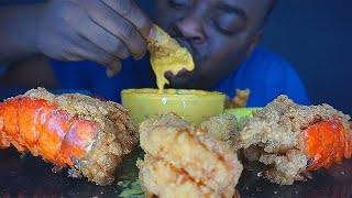 ASMR   SEAFOOD DIPPED IN CHEESE SAUCE   DEEP FRIED LOBSTER TAIL & JUMBO SHRIMP   EATING SOUNDS 먹방 먹는