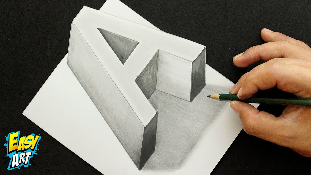 Dibujos Para Colorear 3d: How To Draw 3D Letter A /Como Dibujar La Letra A 3D/ Art