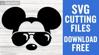 Mickey Mouse Sunglasses Svg Free Cutting Files for Silhouette Instant Download