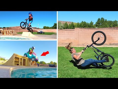 Jumping Power Wheels Ride On Fun Cars into Backyard Swimming Pool Goes Funny!!
