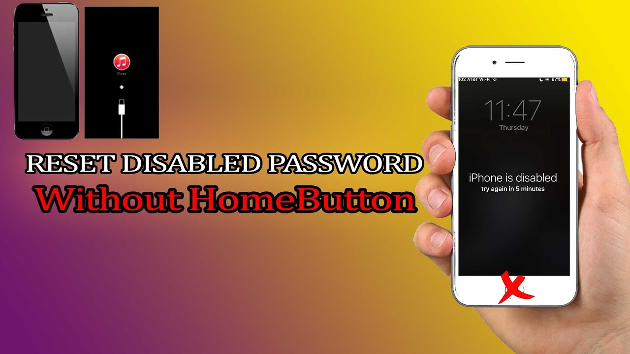 How to reset disabled Password locked without HomeButton iOS