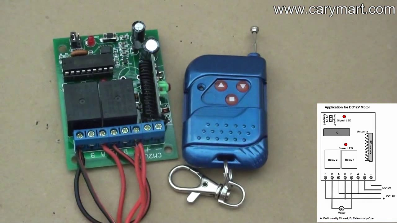 How to control linear actuator motor by 2ch rf remote control kit?