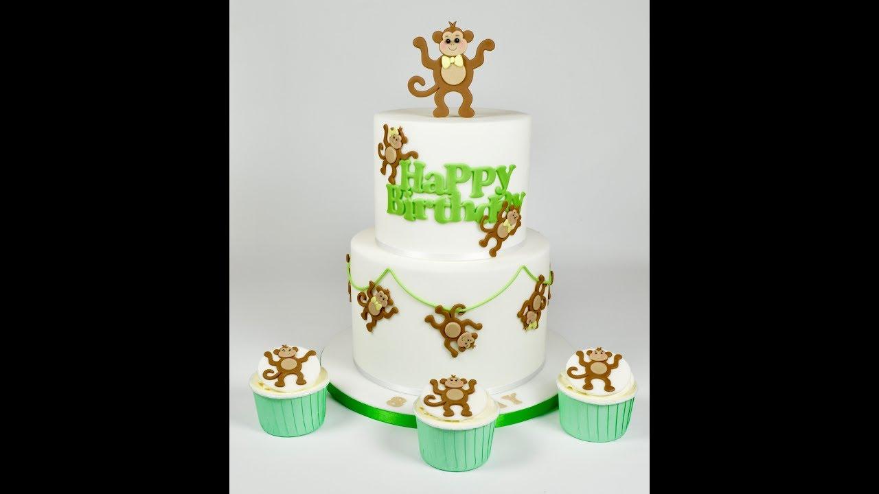 How To Make Sugar Fondant Monkey Cake And Cupcake Topper