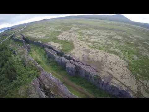 North America & Eurasia tectonic plates gap Iceland ' aerial