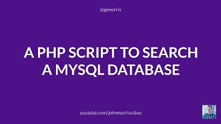 Repeat youtube video A PHP Script to Search a MySQL Database