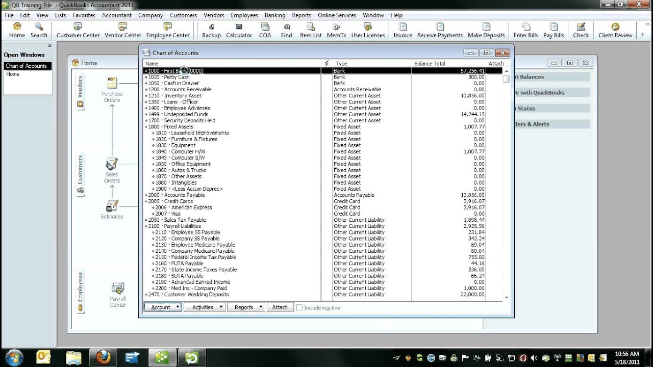 quickbooks chart of accounts youtube. Black Bedroom Furniture Sets. Home Design Ideas