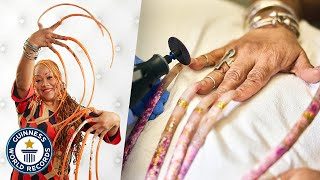 Cutting The World's Longest Fingernails - Guinness World Records