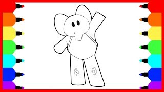 How to Draw Elephant Elly from Pocoyo, Coloring Pages for Baby. Coloring and Drawing for Kids