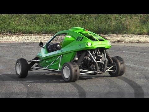 Kart Cross w/ 600cc Bike Engine racing on track: Slides, Accelerations & Sounds!