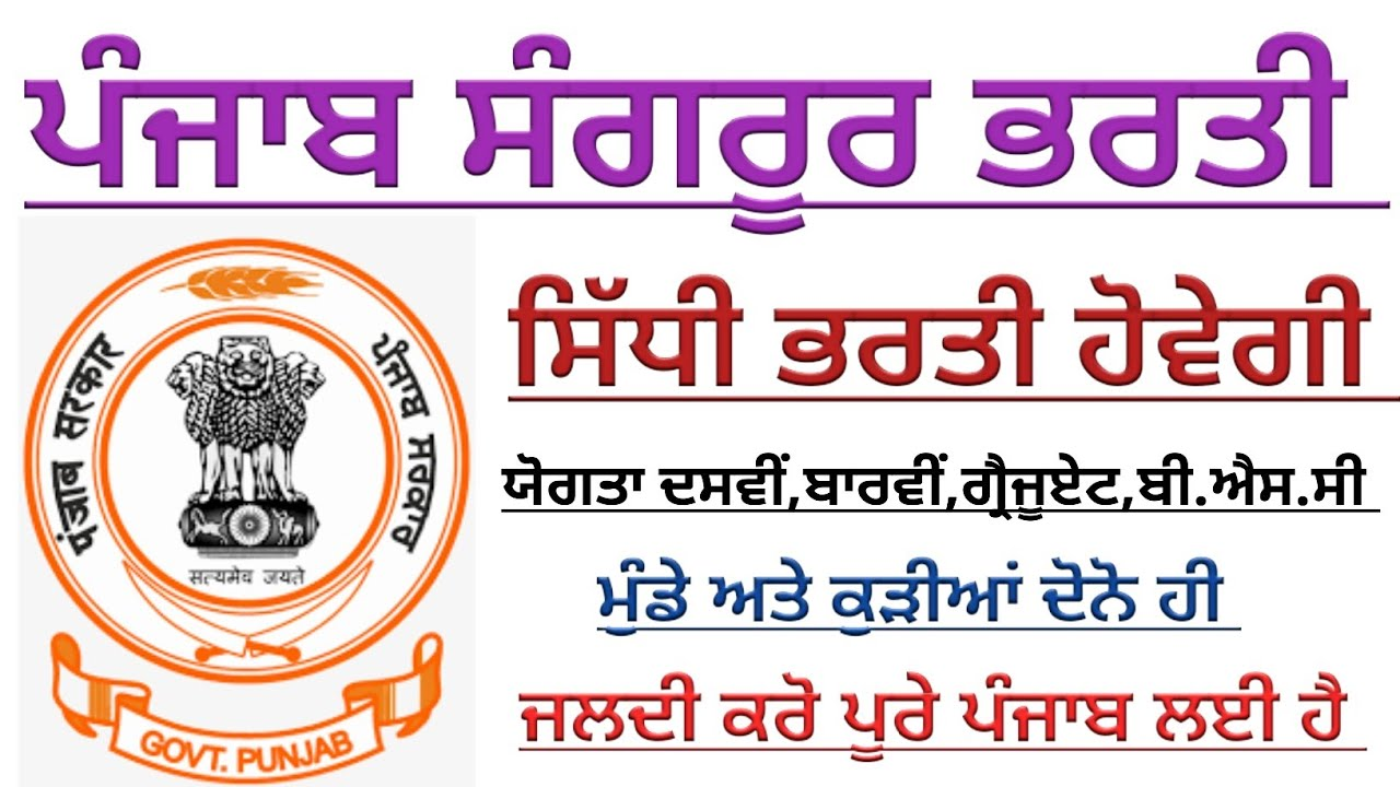Punjab Latest Government recruitment 2020,Punjab June new ...