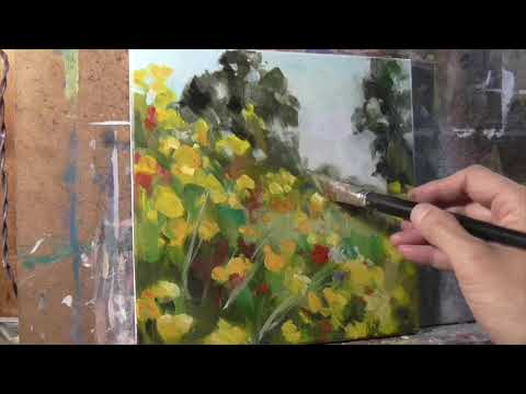 Yellow Flower Landscape OIL PAINTING demo