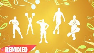 TODOS OS NOVOS EMOTES FORTNITE REMIXADOS! (Crackdown, animar, Lazy shuffle, Clean Groove, Shaolin..)
