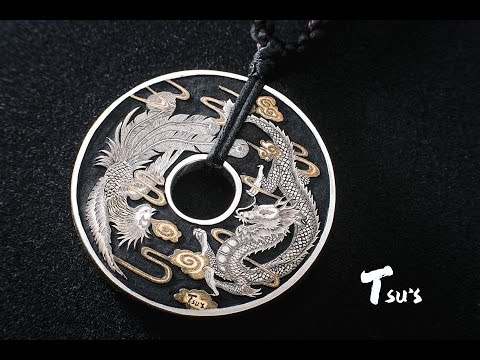 Hand Engraving Gragon & Phoenix Pendant with Gold Inlay