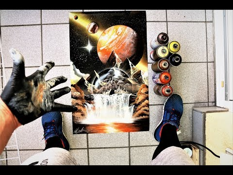 Waterfall city - SPRAY PAINT ART - by Skech