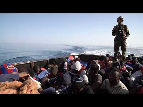 Libyan CoastGuards Rescue immigrants from the sea