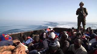 Libyan CoastGuards Rescue immigrants from the sea