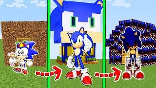 CICLO DE VIDA EVOLUÇÃO DA CASA DO SONIC no MINECRAFT!!!