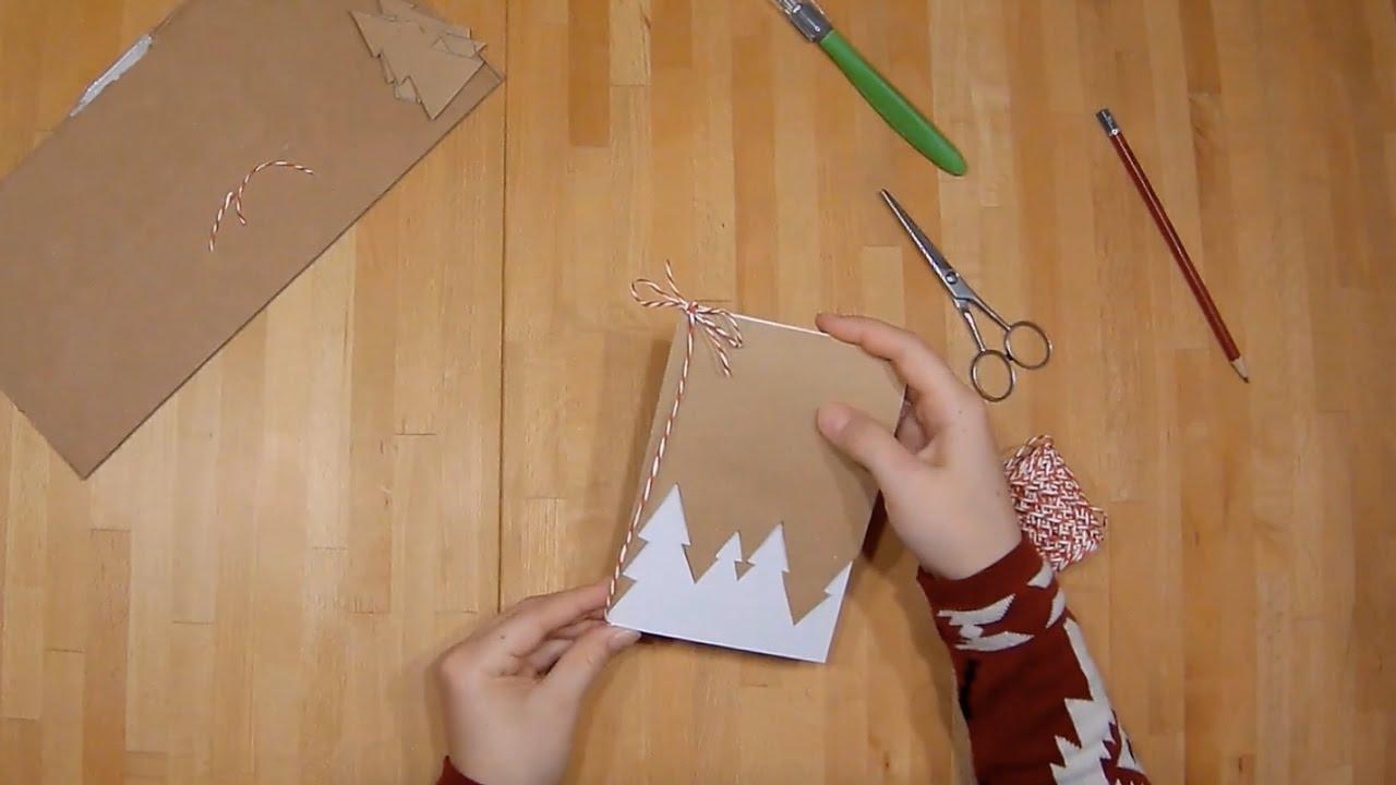 diy weihnachtskarten selbstgemacht tannenb ume youtube. Black Bedroom Furniture Sets. Home Design Ideas