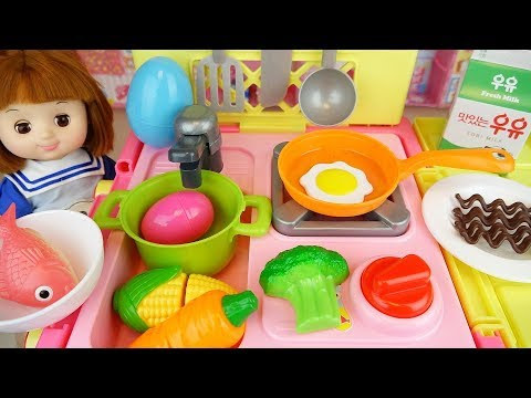 Thumbnail: Baby Doli and Cart kitchen car toy baby doll food and surprise eggs play