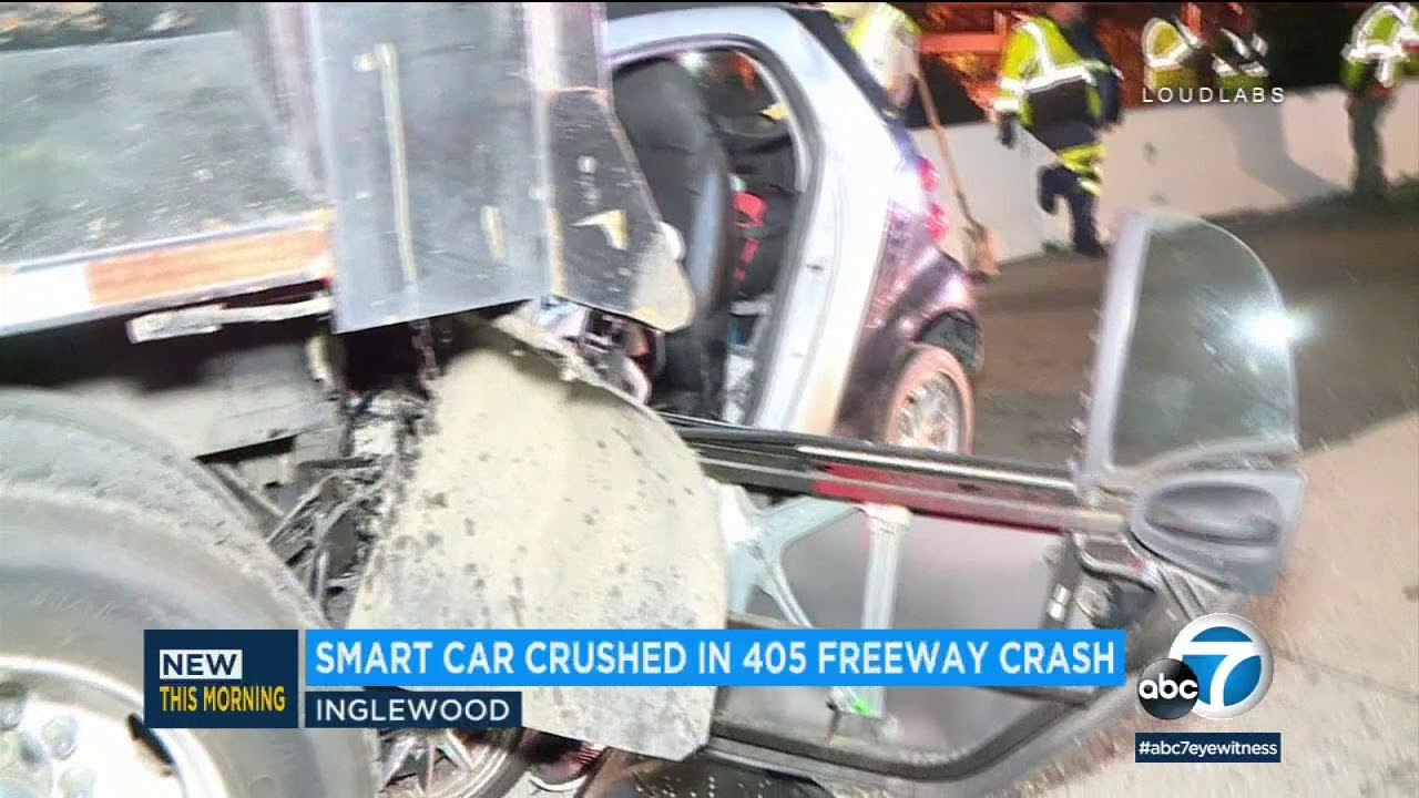 Smart Car slams into back of dump truck on 405 in Inglewood | ABC7