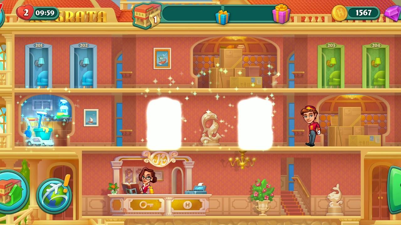 Grand Hotel Mania Level 1 Hotel 2 Unlock New Hotel Regrata Hotel Youtube