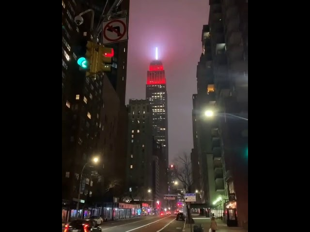 Empire State Building Lights Up As Giant Red & White Siren to Honor Emergency Workers - New York