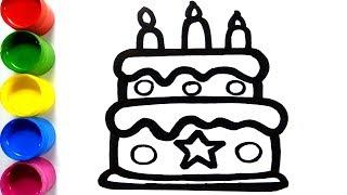 Coloring Birthday Cake | Dessin et coloriage de gâteaux d'anniversaire pour enfants | Colorsfun