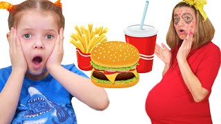 Nicole teaches mom to eat healthy food and to do exercises