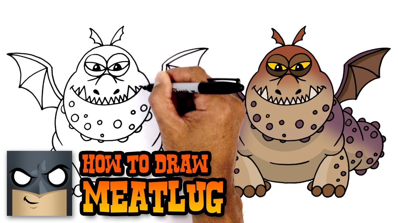 How To Draw Meatlug How To Train Your Dragon Youtube