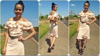 Vestido babado com ombro de fora parte 3 Alana Santos Blogger