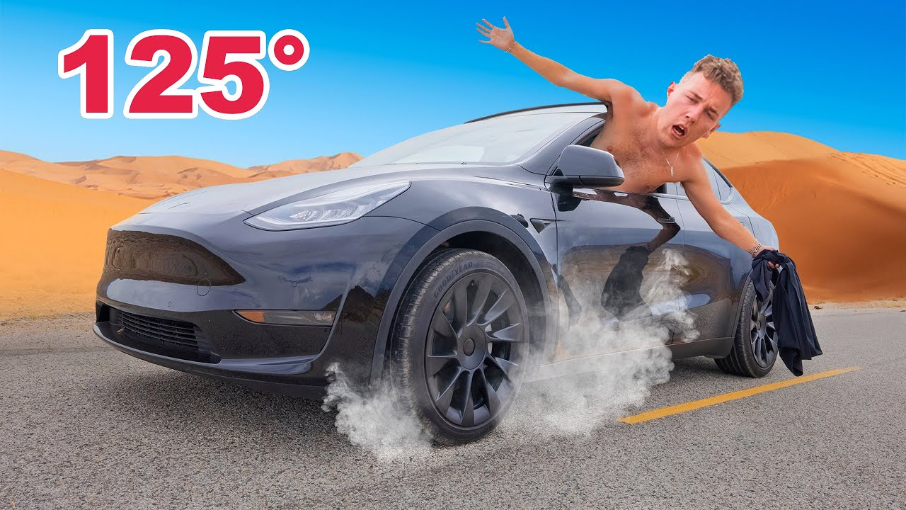 Surviving The Hottest Place On Earth Locked In A Tesla (24 hours)
