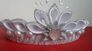 Repeat youtube video Новогодняя Корона Канзаши ! Для начинающих / New Crown Kanzashi! for beginners