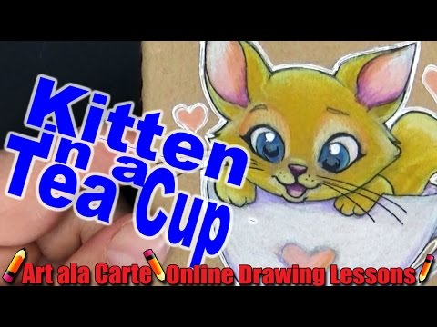 Kitten in a Teacup Sketchbook Cover Speed Draw