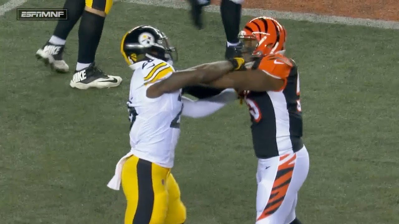 Vontaze Burfict Flops To Cause A Penalty On Le Veon Bell