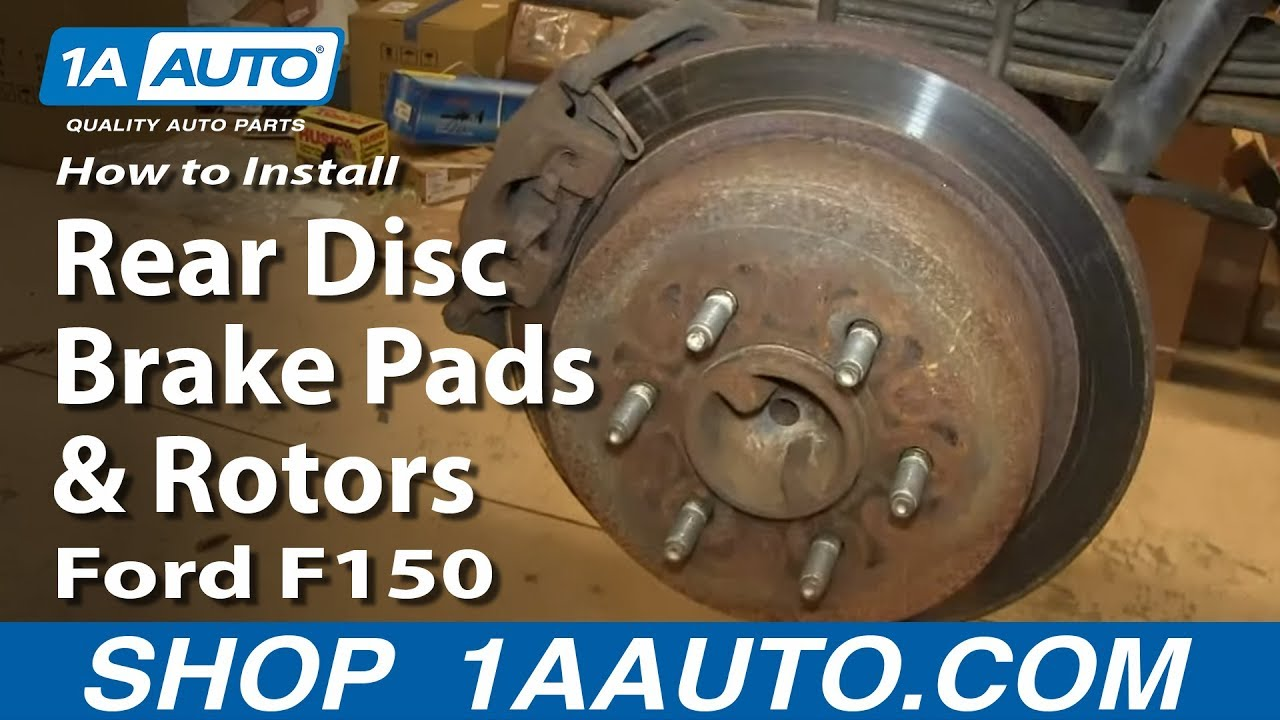 how to replace rear disc brake pads and rotors 04-10 ford f150