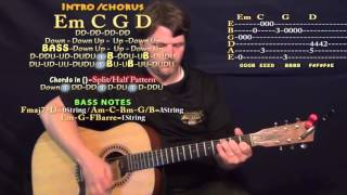 Faded (Alan Walker) Guitar Lesson Chord Chart in Standard Tuning - Em C G D