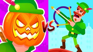 Bowmasters - Gameplay Walkthrough 2 Epic Wins - New Characters Halloween PUMPKIN MAN Vs ROBIN